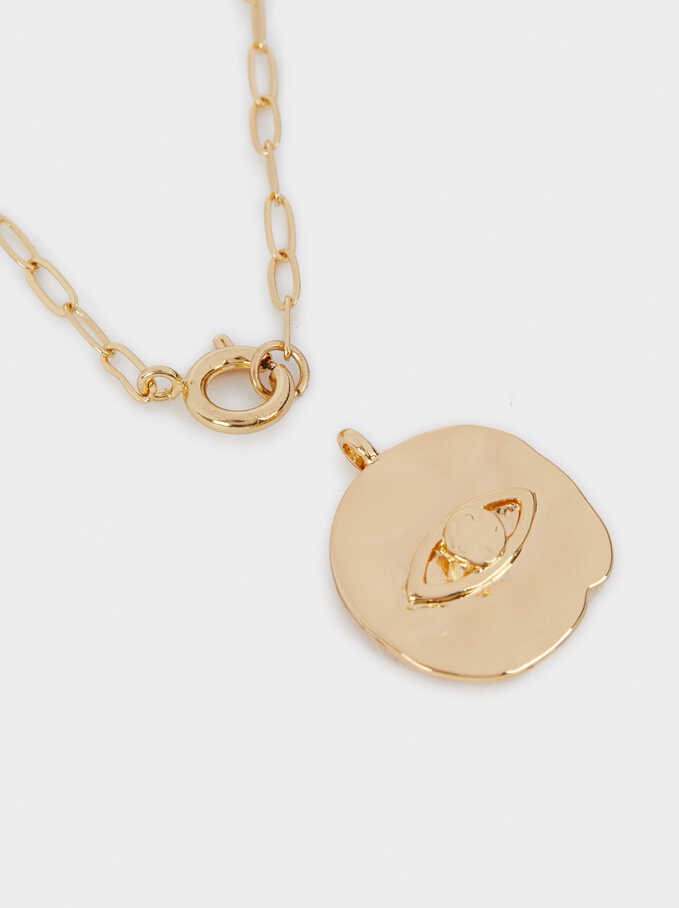 Chain Necklace With Golden Pendant, Golden, hi-res