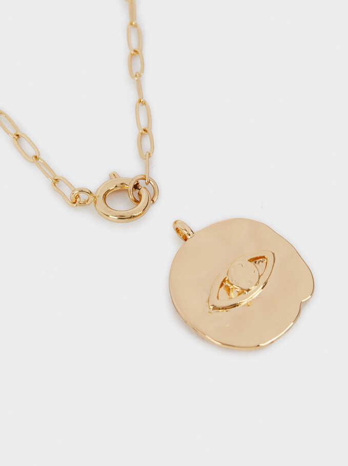 Collar Cadena Medallón Dorado, Dorado, hi-res