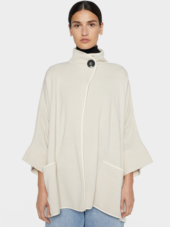 Poncho With Button Detail, Beige, hi-res