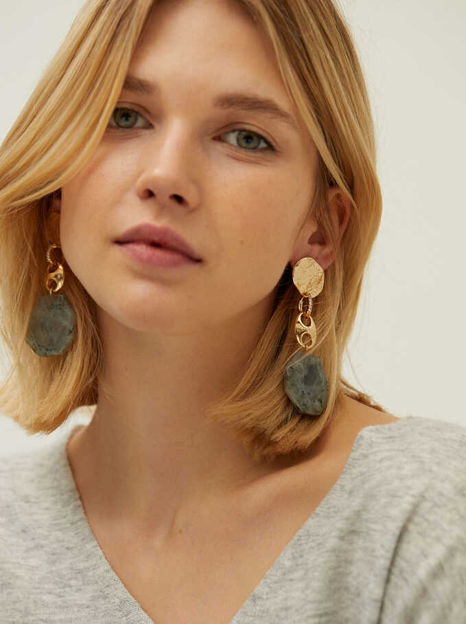 Extra Long Detachable Earrings With Stone, Golden, hi-res