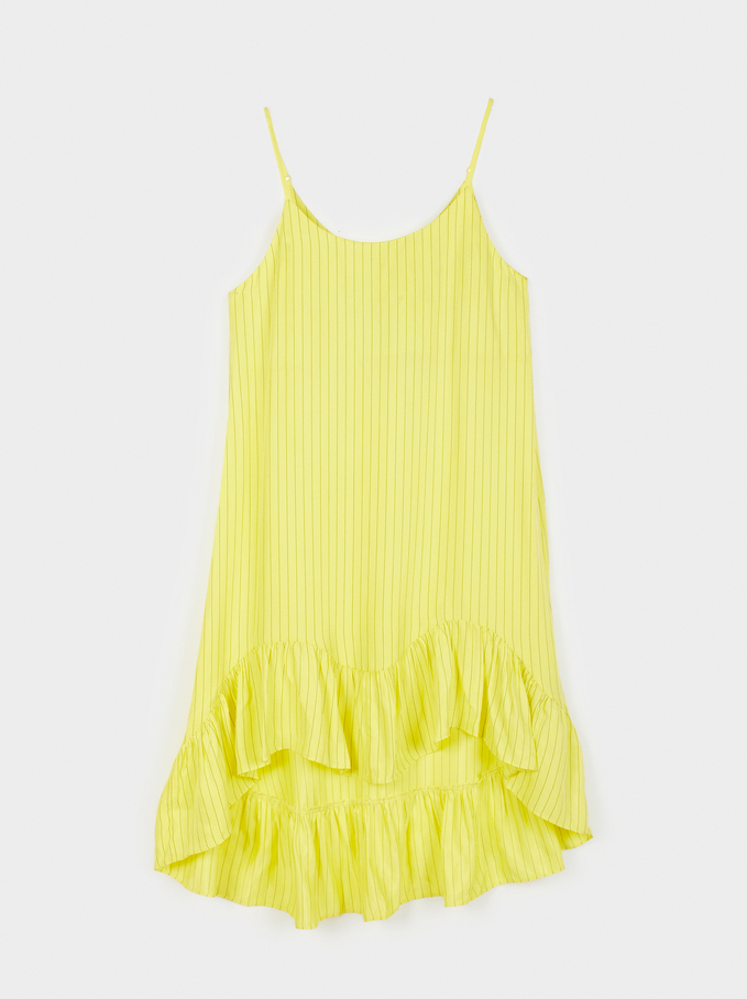 Ribbed Dress With Straps, Yellow, hi-res