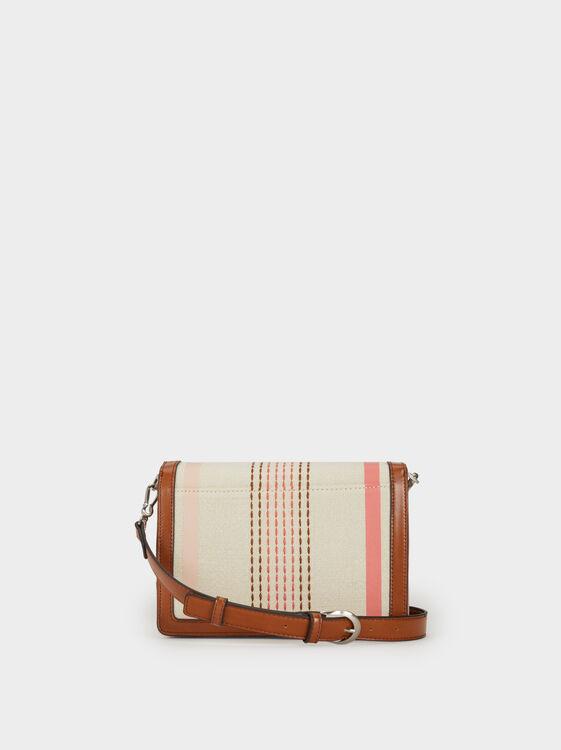 Striped Crossbody Bag, Camel, hi-res