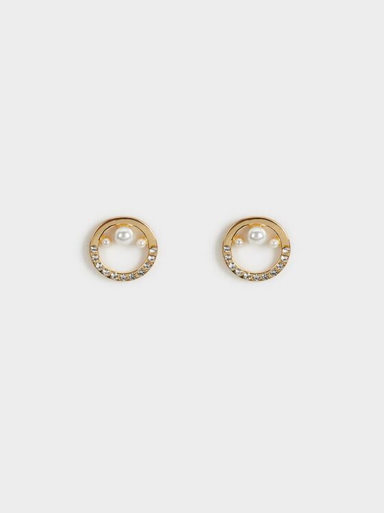 Short Pearl Bead Earrings, , hi-res