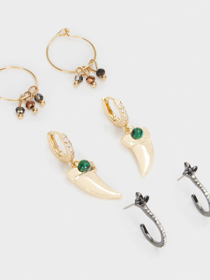 Set Of Hoop Earrings With Horns And Crystals, Multicolor, hi-res