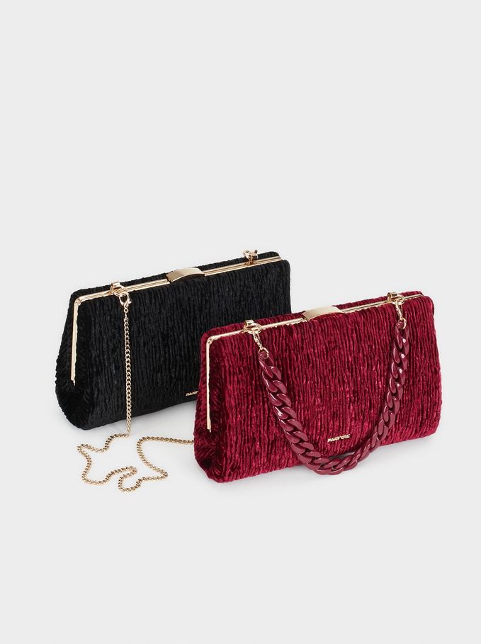 Velvet Party Clutch, Black, hi-res
