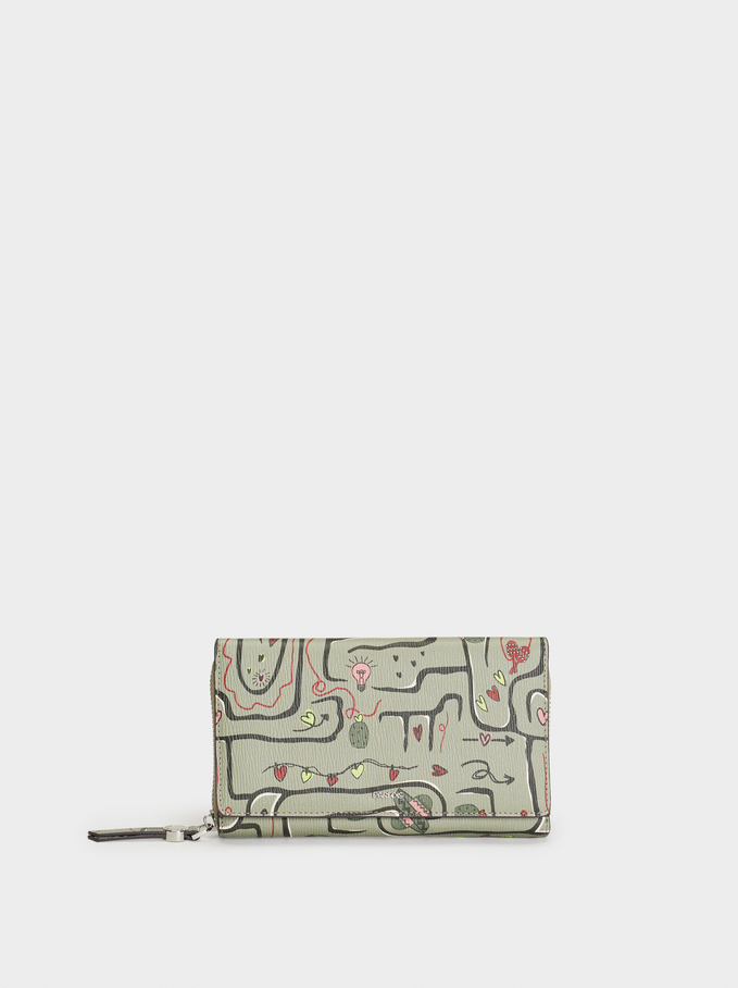 Love Printed Wallet, Khaki, hi-res