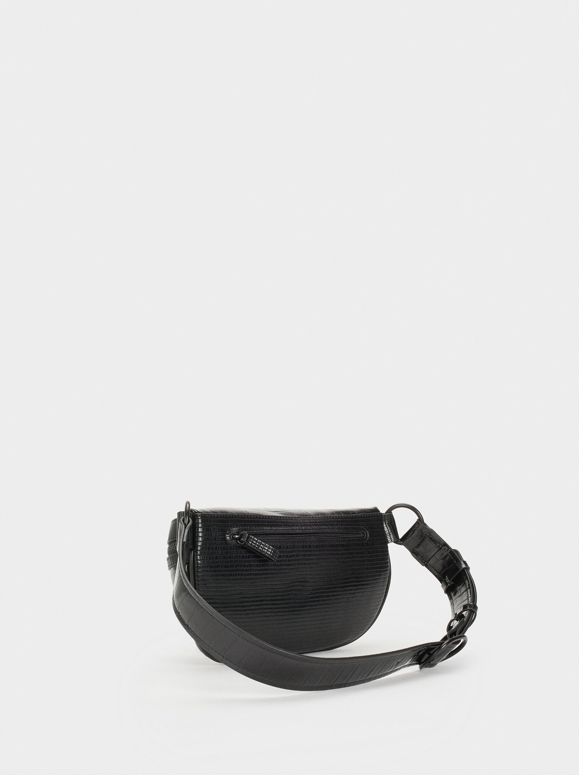 Animal Embossed Belt Bag, Black, hi-res