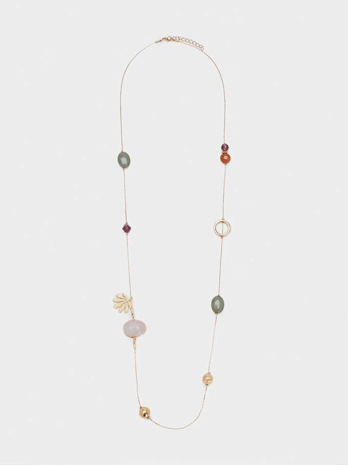 Long Stone Necklace, Golden, hi-res