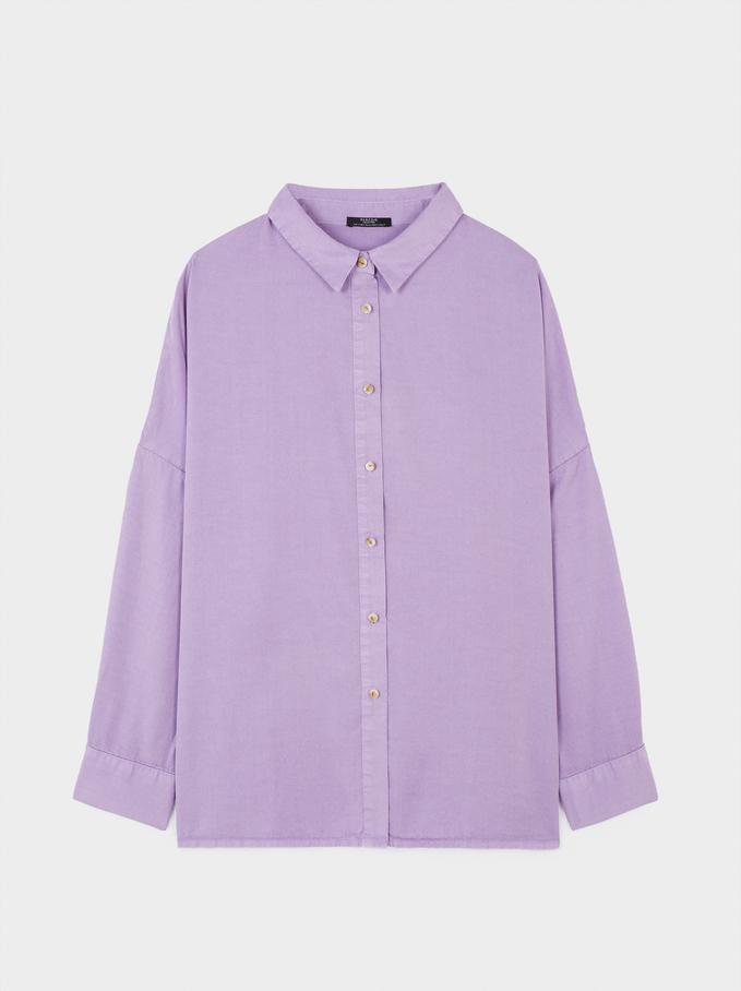 Plain Oversized Shirt, Violet, hi-res