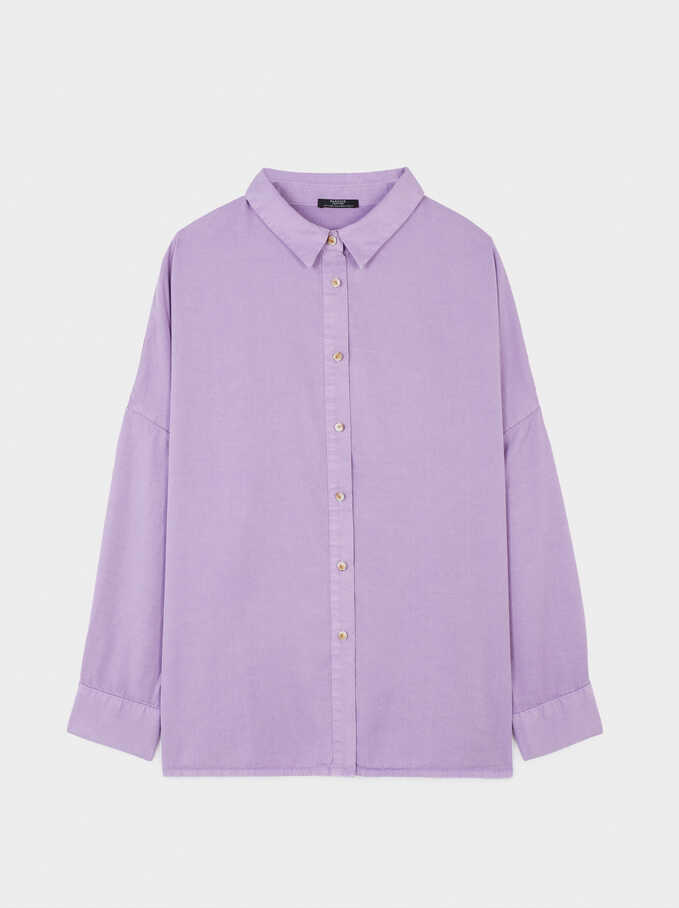 Plain Oversized Shirt, Violet, hi-res