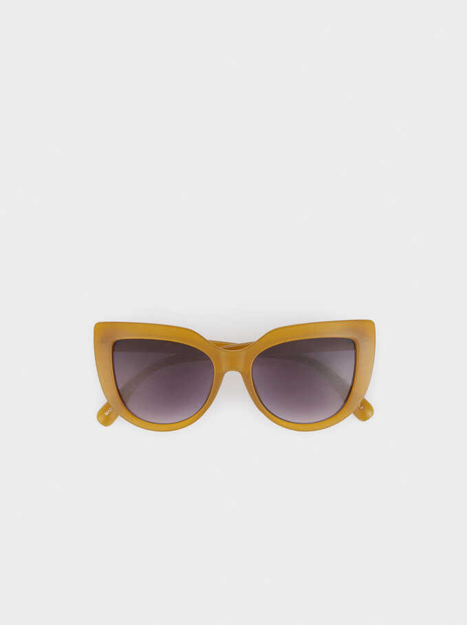 Resin Cat-Eye Sunglasses, Yellow, hi-res