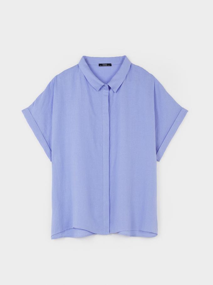 Chemise Oversize, Bleu, hi-res