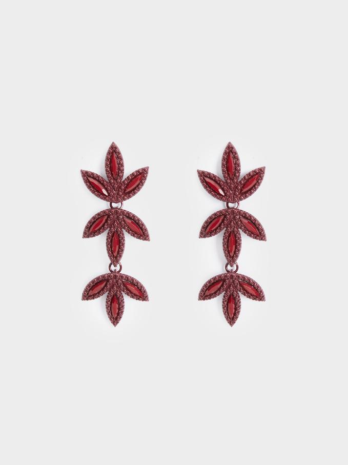 Rose Berry Long Earrings, Bordeaux, hi-res