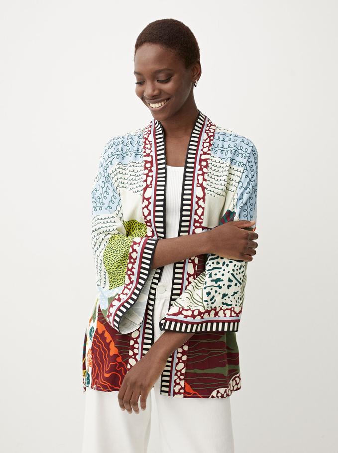 Kimono Abierto Estampado , Multicor, hi-res