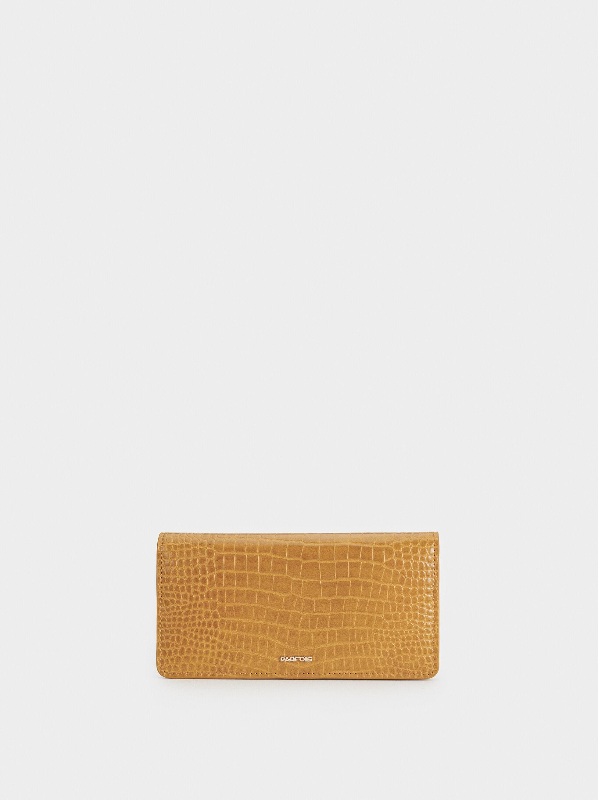Large Embossed Animal Print Wallet, Mustard, hi-res