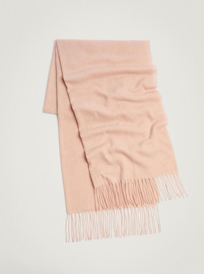 Blanket Scarf With Fringing, Pink, hi-res