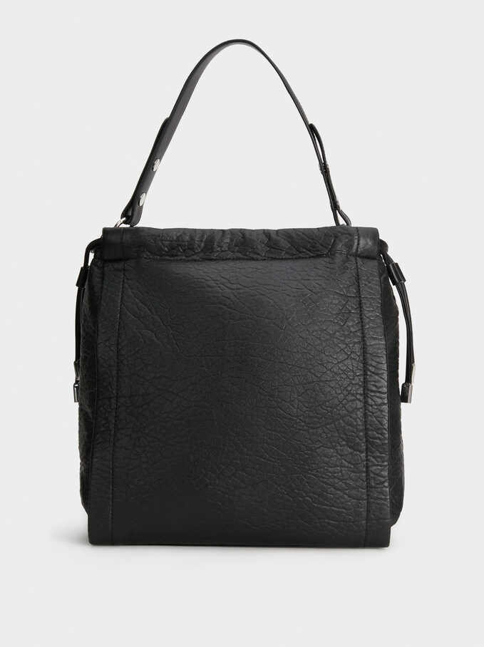 Plain Shoulder Bag, Black, hi-res