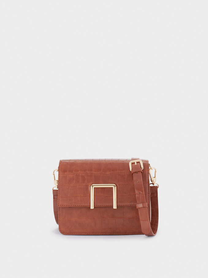 Embossed Crossbody Bag With Removable Strap, Camel, hi-res
