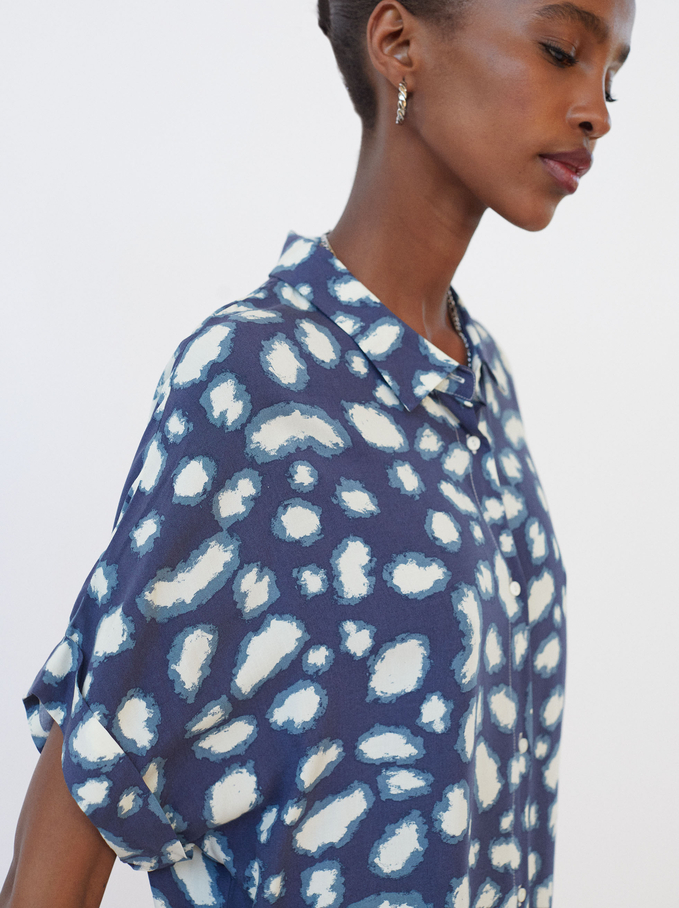 Printed Shirt Dress, Blue, hi-res