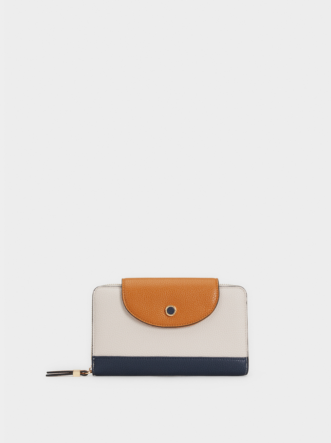 Colour Block Large Purse, Navy, hi-res