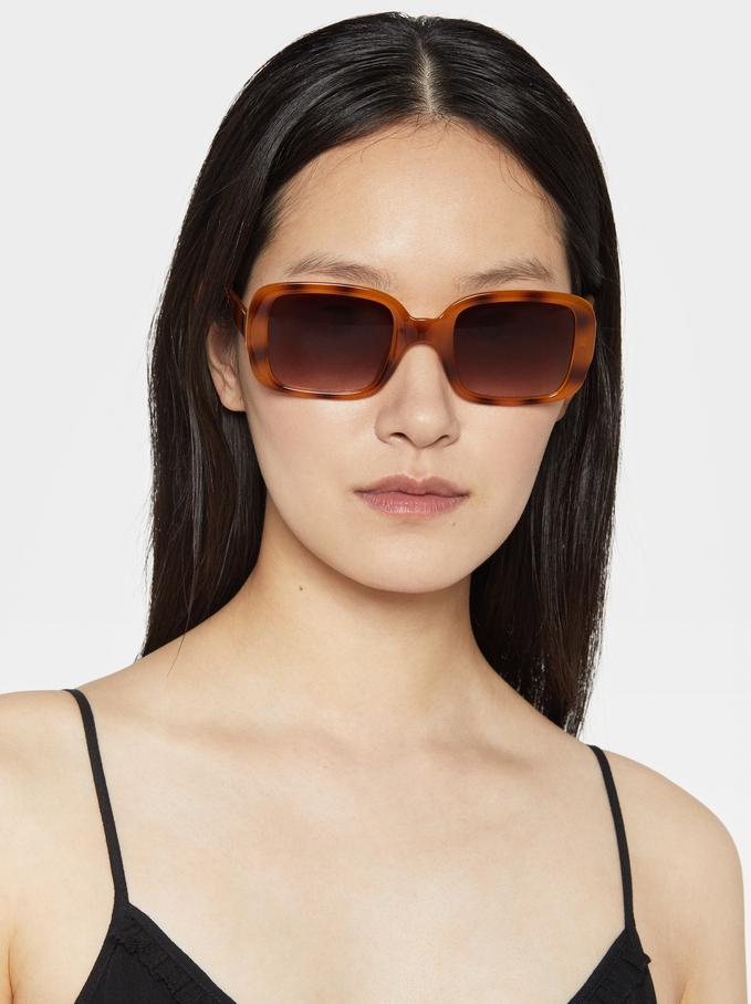 Square-Cut Sunglasses, Brown, hi-res