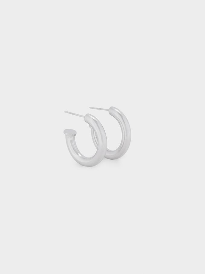 Stainless Steel Hoop Earrings, Silver, hi-res