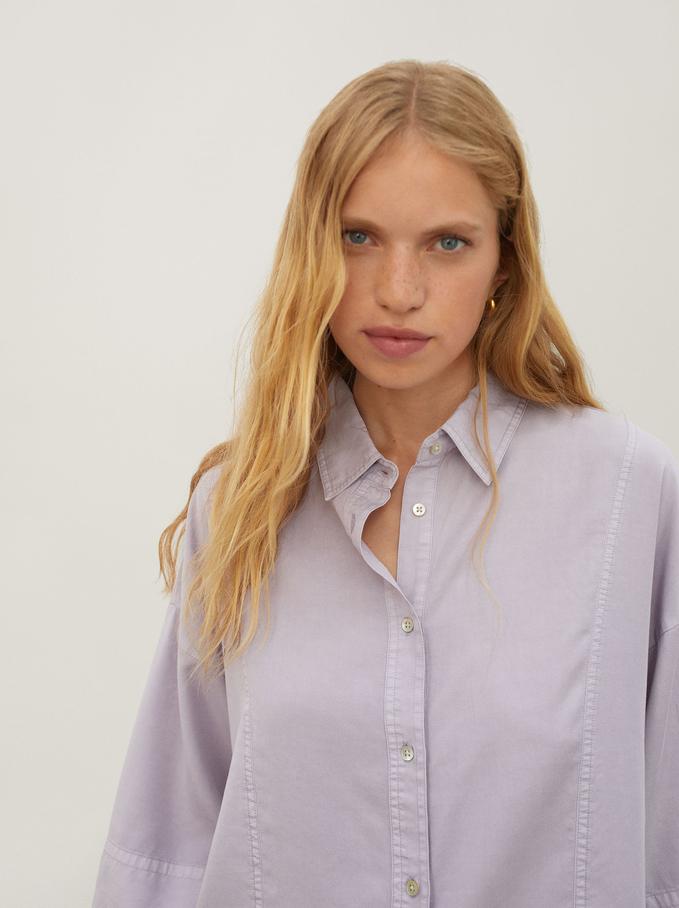 Camisa De Manga Curta 100% Lyocell, Lilás, hi-res