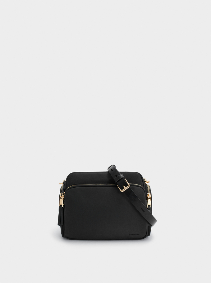 Textured Nylon Crossbody Bag, Black, hi-res