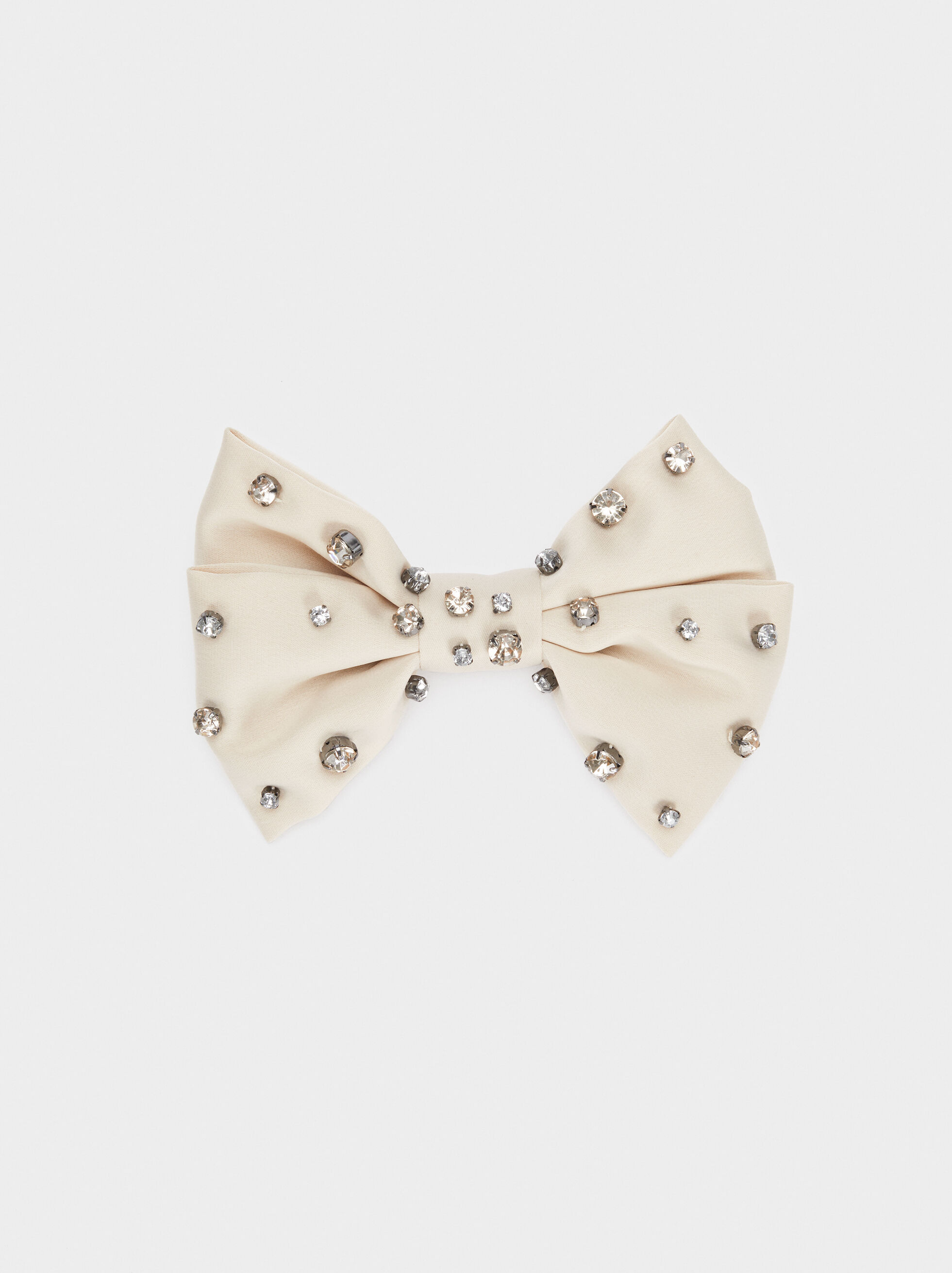 Bow Hairclip With Rhinestones, Beige, hi-res