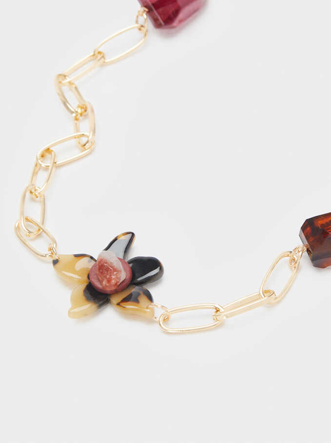 Long Necklace With Multicoloured Stones, Multicolor, hi-res
