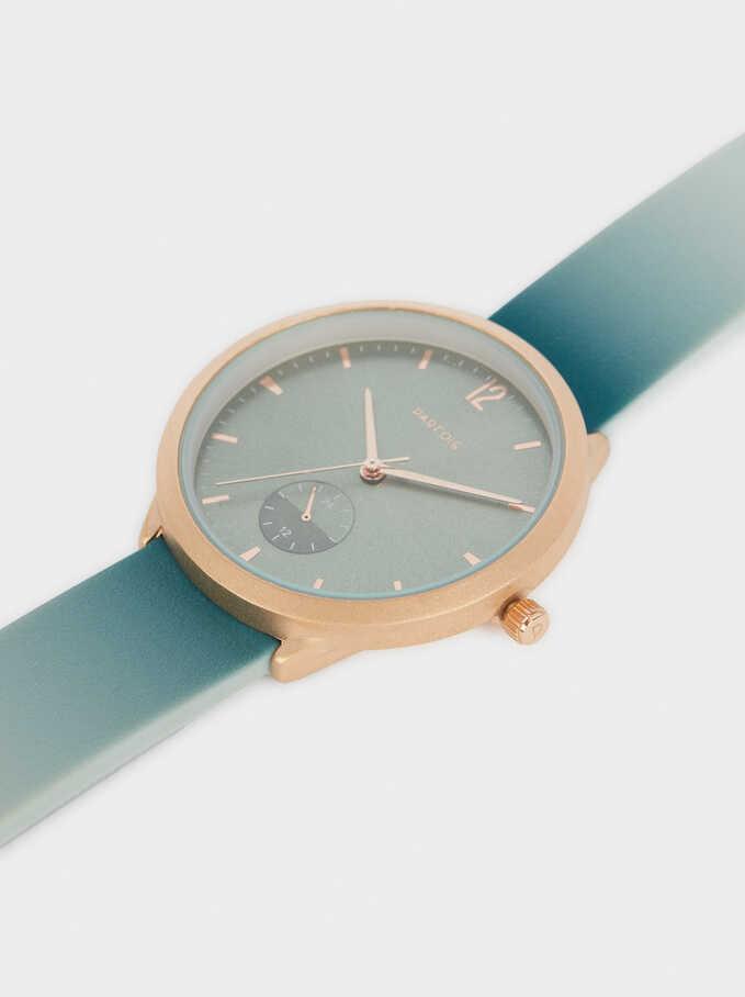 Reloj Correa De Silicona Caja Redonda, Verde, hi-res