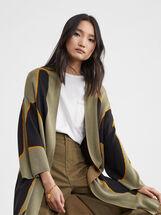 Printed Knitted Kimono, Khaki, hi-res