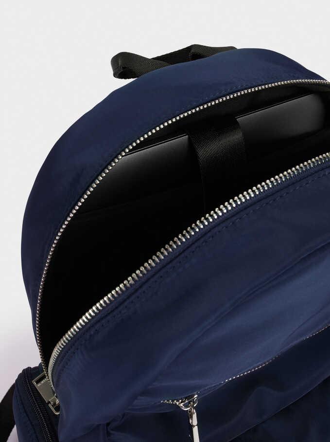 "Nylon Backpack For 13"" Laptop, Navy, hi-res"