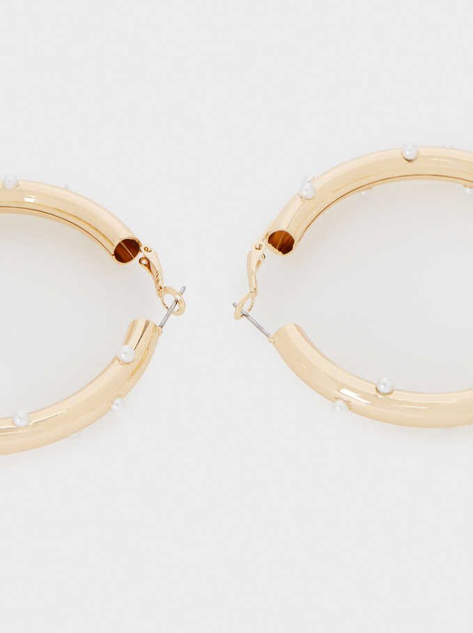 Large Hoop Earrings With Faux Pearls, Golden, hi-res