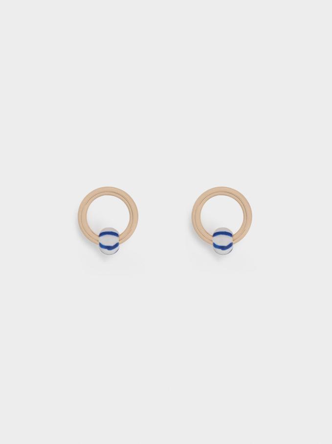 Kurze Ohrringe Mit Strass, Blau, hi-res