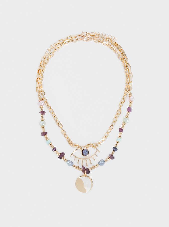 Watercolor Beaded Necklace Set, Multicolor, hi-res