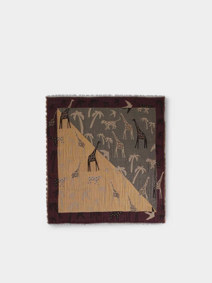 Printed Cotton Square Scarf, Bordeaux, hi-res