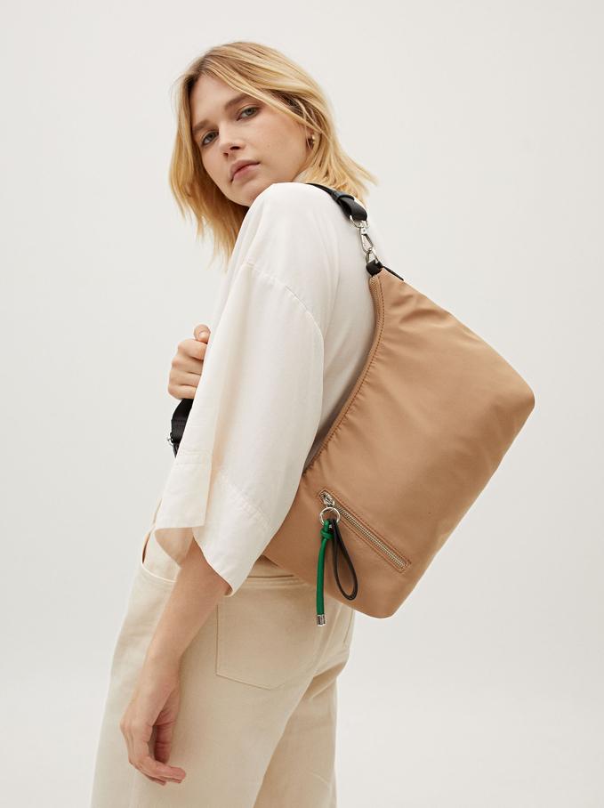 Nylon Crossbody Bag With Pendant Detail, Camel, hi-res