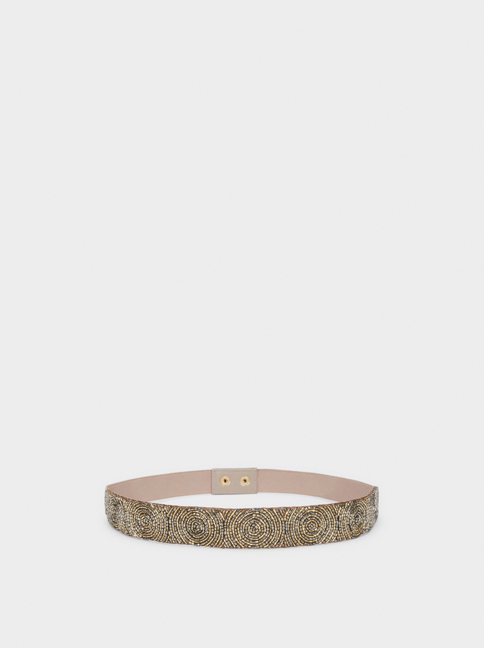 Beaded Party Belt With Stretch Detail, Golden, hi-res