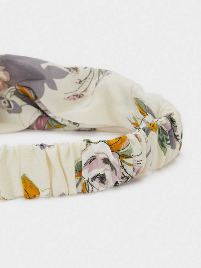 Floral Printed Turban-Style Headband, Multicolor, hi-res