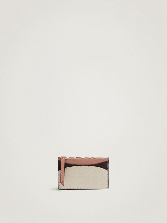 Patchwork Design Card Holder With Purse, Camel, hi-res
