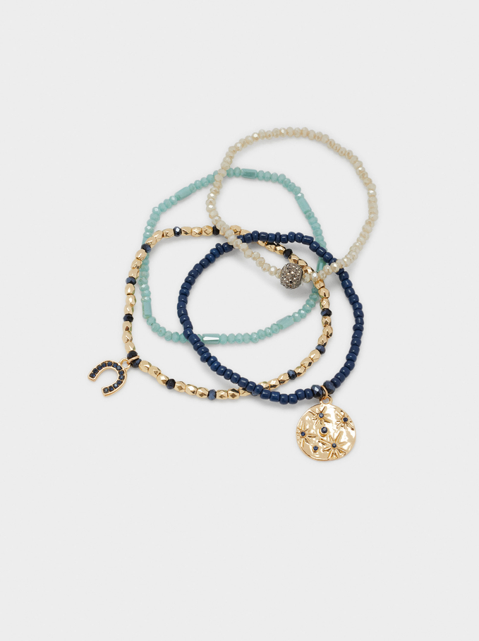 Set Of Elastic Bracelets With Charms, Multicolor, hi-res
