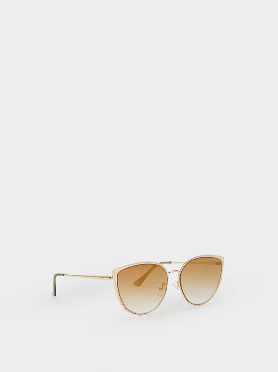 Metal Cat Eye Sunglasses, Golden, hi-res