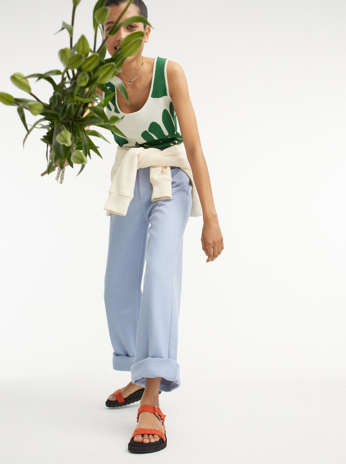 Bell-Bottom Trousers, Blue, hi-res