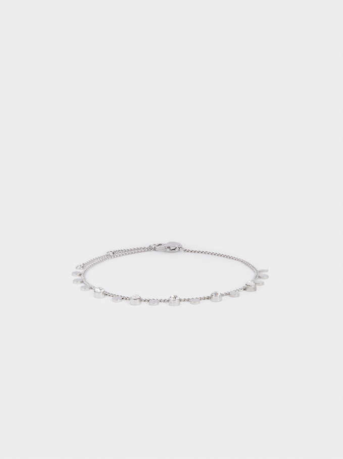 Stainless Steel Bracelet With Crystals, Silver, hi-res