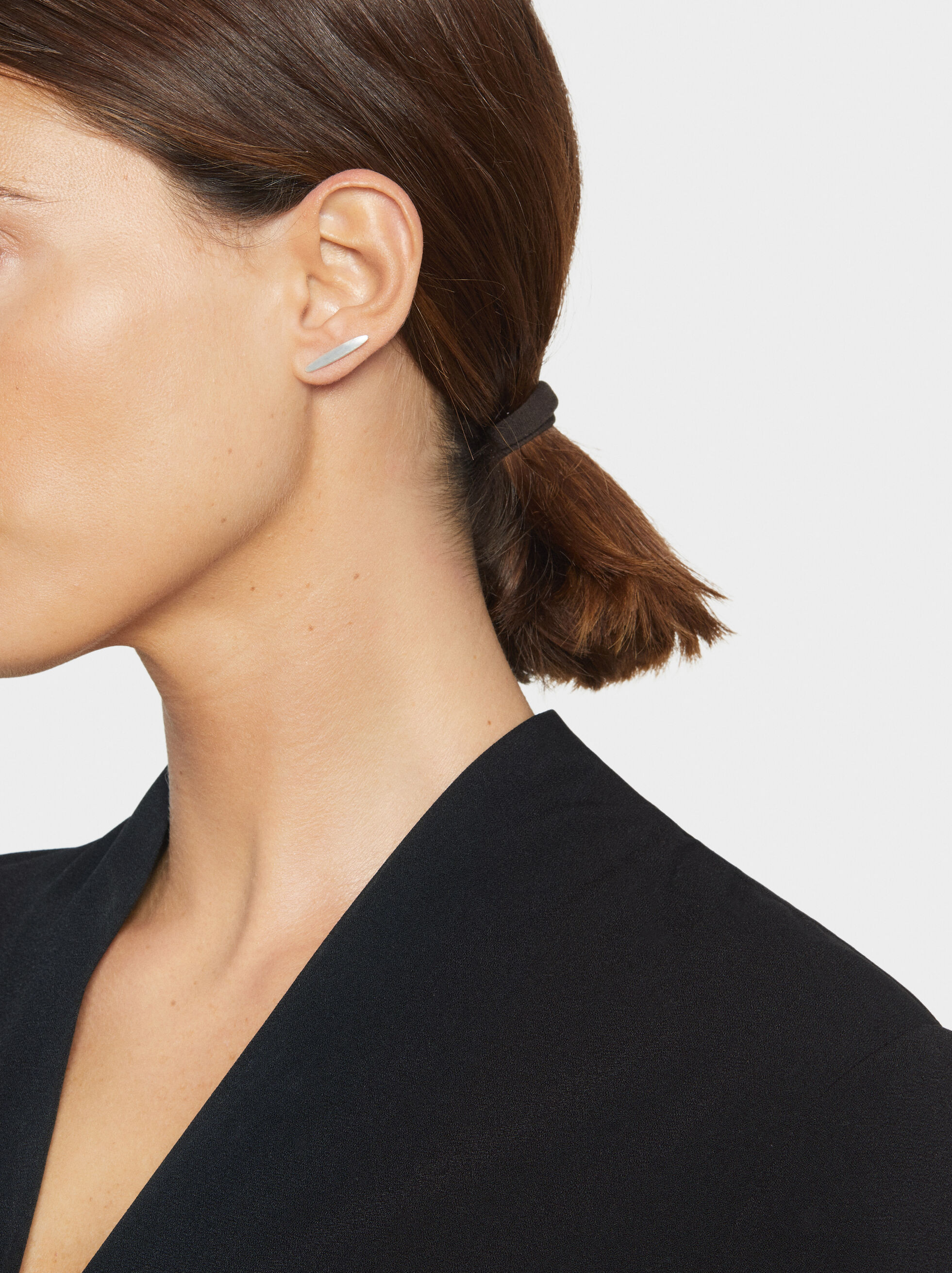 Basic Stud Earrings, Silver, hi-res