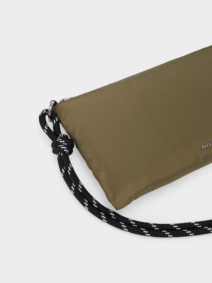 Nylon Shoulder Bag, Khaki, hi-res