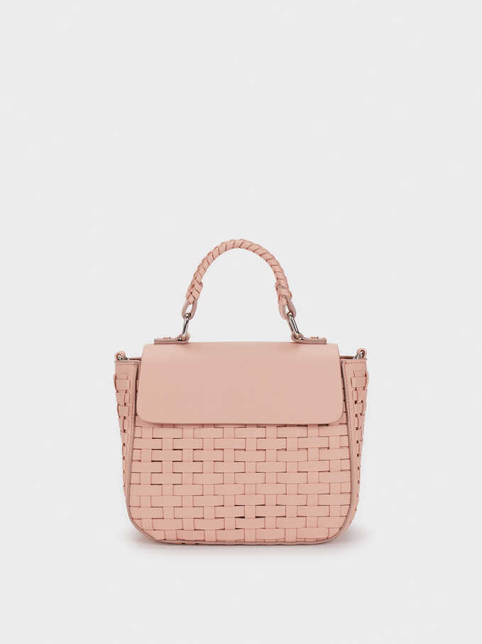 Braided Crossbody Bag, Pink, hi-res