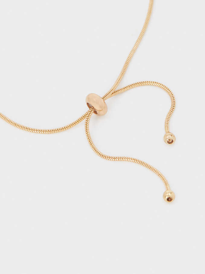 Adjustable Gold Bracelet With Shell Detail, Golden, hi-res