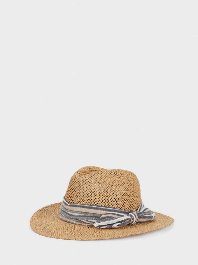 Sombrero Textura Rafia, Beige, hi-res